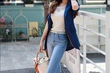 【号外娱乐】靓丽挺拔的牛仔裤美女,轻松穿出修长的身